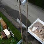 Abbau von 10 Metern Kamin, Seilwinde