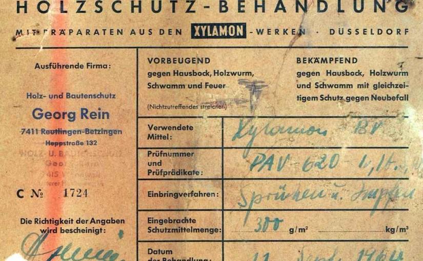 Xylamon BV, Scan des originalen Nachweises