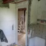 Kamin und Mauer durch Stahlträger ersetzt