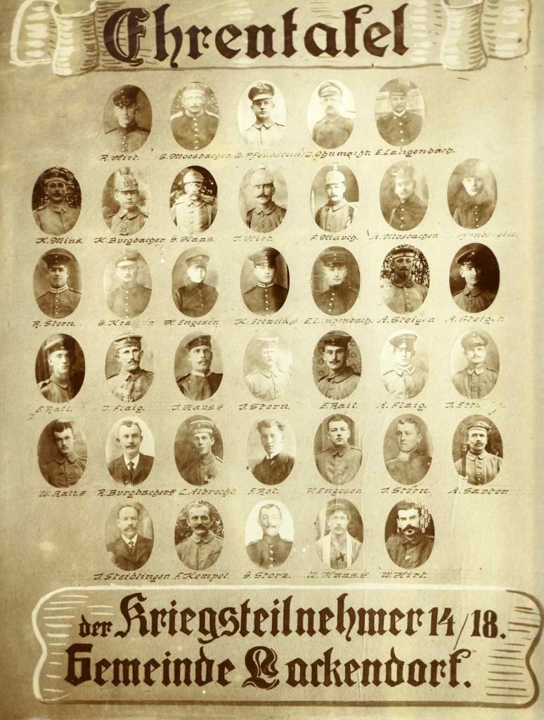 Kriegsversehrte: Ehrentafel der Kriegsteilnehmer 14/18. Gemeinde Lackendorf.
