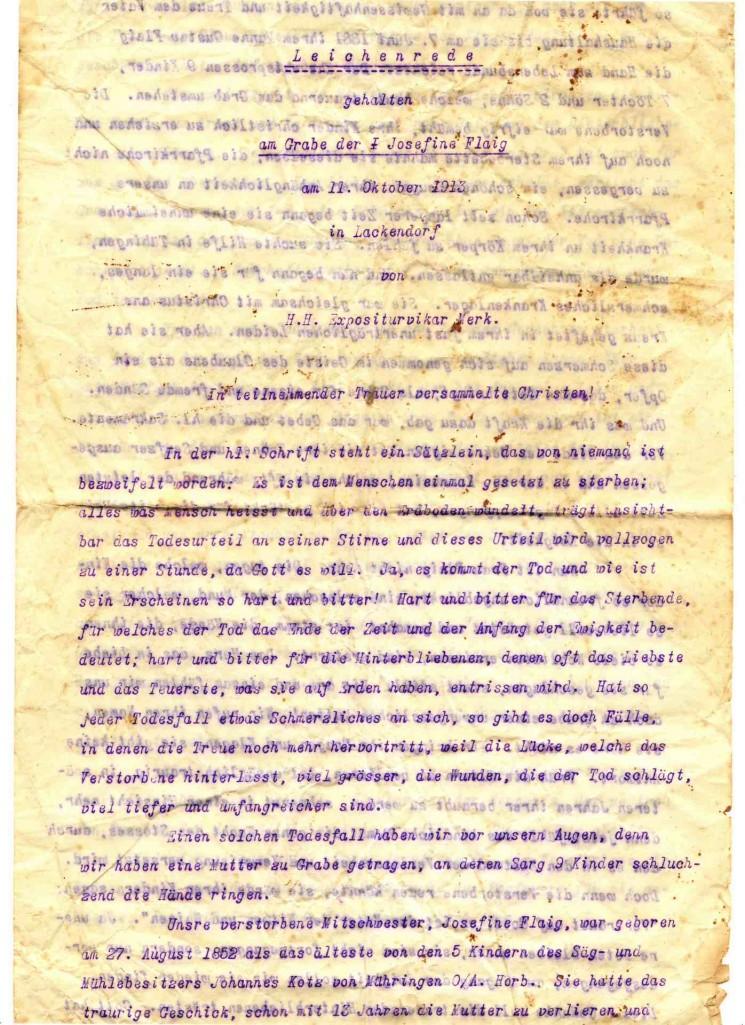 Leichenrede: gehalten am Grabe der Josefine Flaig am 11. Oktober 1913 in Lackendorf von H.H. Expositurvikar Merk.