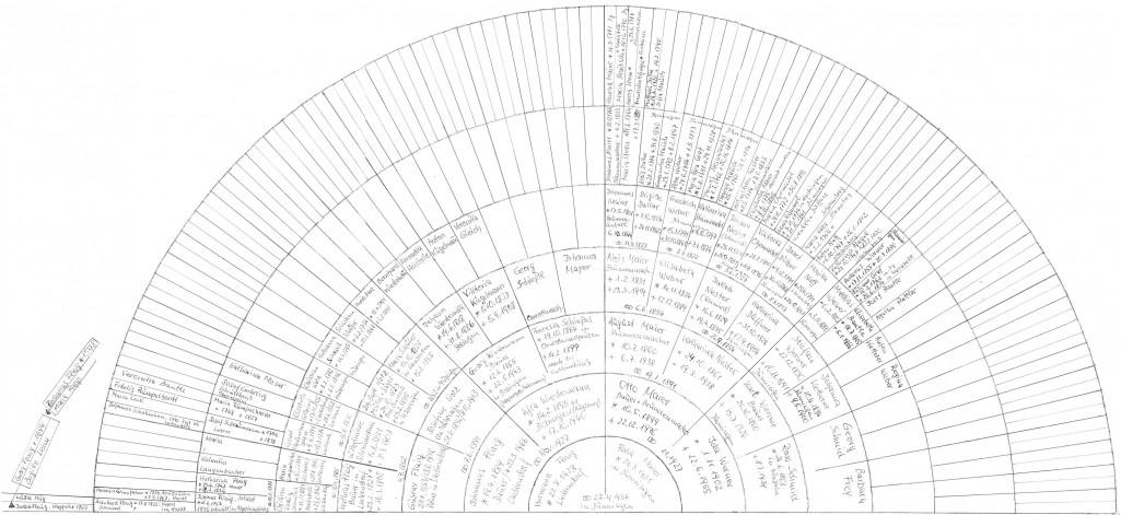 Die Einträge sind auf dem Stand vom 30.7.2008. Zusätzlicher Text im Buch: Der Stammbaum, welcher von Hermann selbst recherchiert und erstellt wurde, musste für dieses Buch auf vier Seiten verteilt werden; die Abschnitte überlappen sich aber, so dass die Übergänge klar sein sollten. Die ersten zwei Seiten sind der Stammbaum von Hermann, die letzten zwei der von Rosa bis zu deren Hochzeit. [Seiten 35-38]