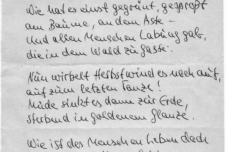 Herbst-Gedicht, Handschrift von Hermann Flaig